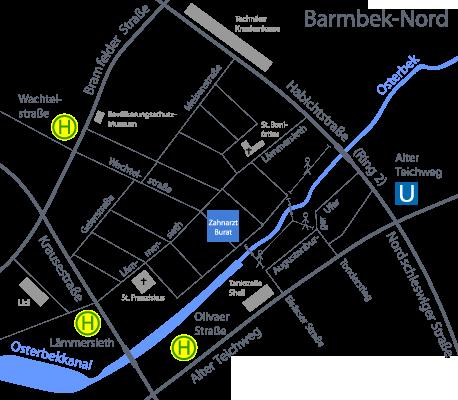 Anfahrtskarte zur Zahnarztpraxis in der Wachtelstrasse 81, 22305 Hamburg - Barmbek